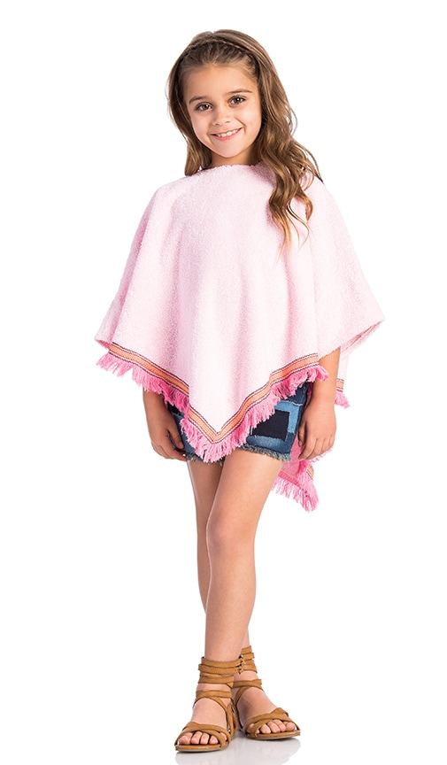 Born by the Shore Fringe Beach Poncho in Pink