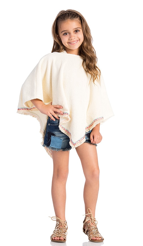 Born by the Shore Fringe Beach Poncho in Cream