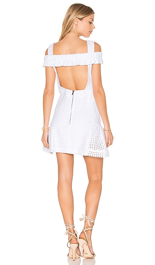 By Johnny Marthe Lace Elastic Frill Mini Dress in White