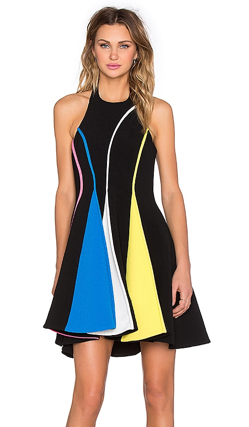 By Johnny Triangle Pipe Mini Dress in Black & Pink & Yellow & White & Blue