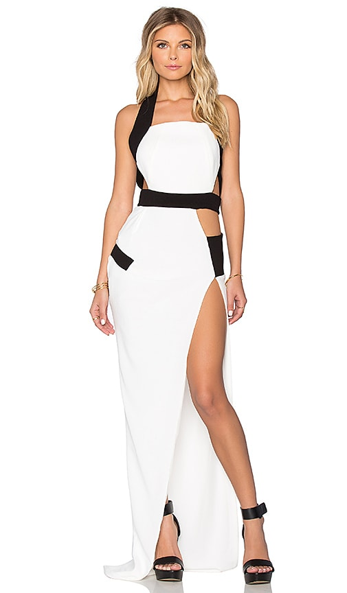 By Johnny Circle Slit Maxi Dress in White & Black