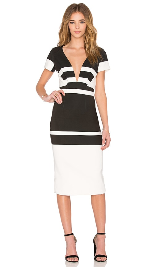 By Johnny Inverted Stripes Dress in Black & White