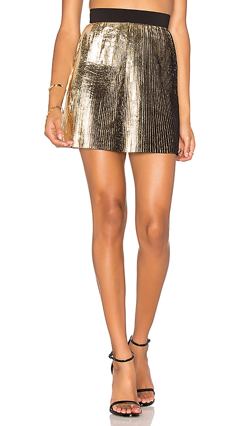 By Johnny Foil Fringe Skirt in Metallic Gold