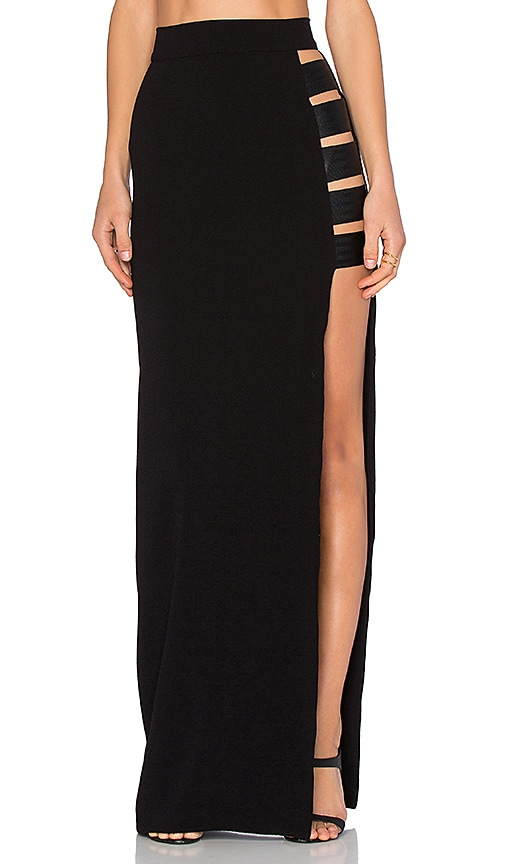 By Johnny Long Line Strap Maxi Skirt in Black
