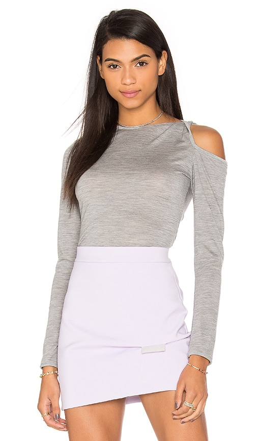 By Johnny Merino Twist Sleeve Knit Top in Gray