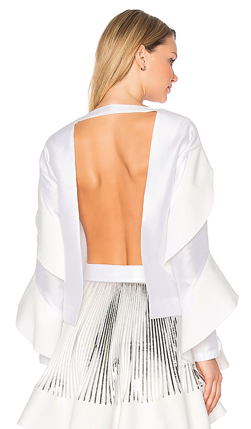 By Johnny Tess Angel Frill Sleeve Top in White