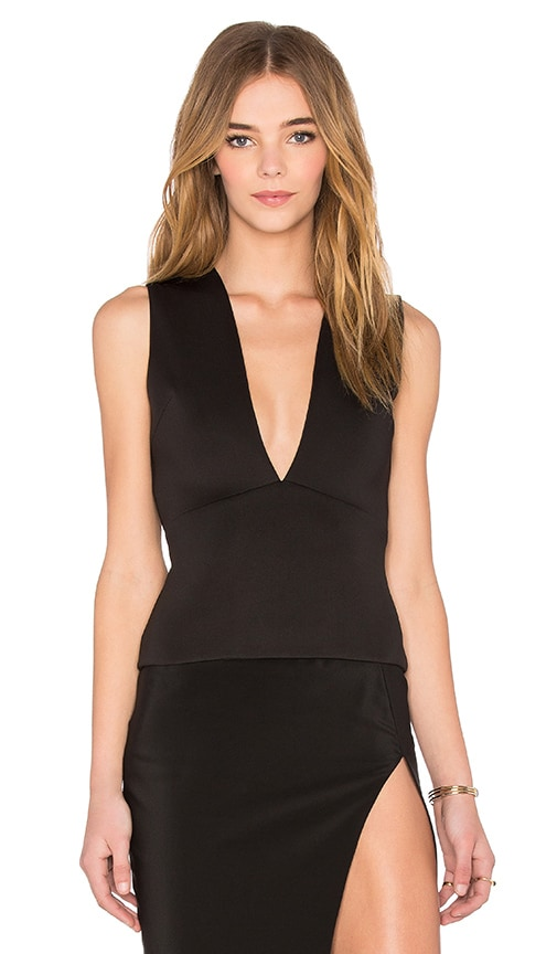 By Johnny V-Plunge Shell Top in Black