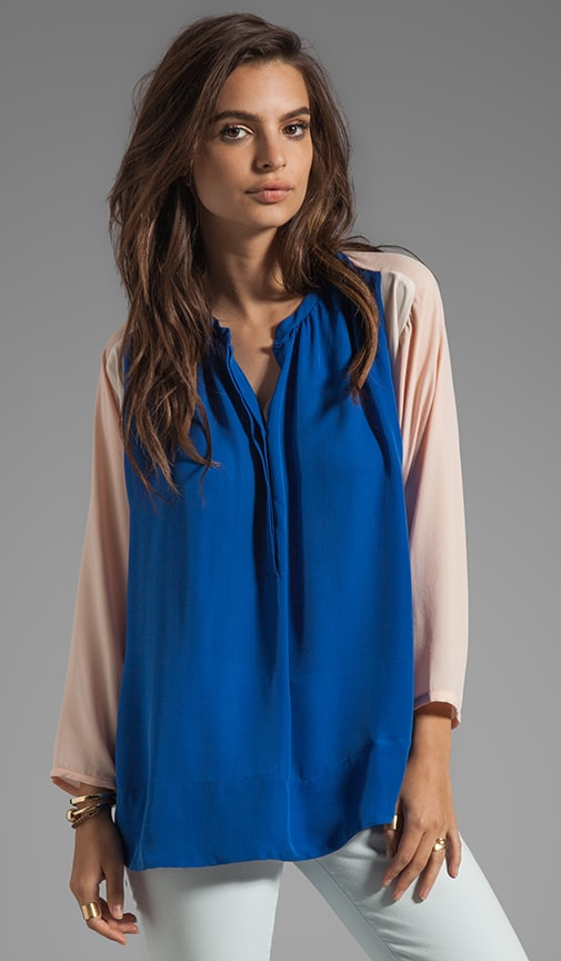 Drapy Touch Fliro Silk Colorblock Top