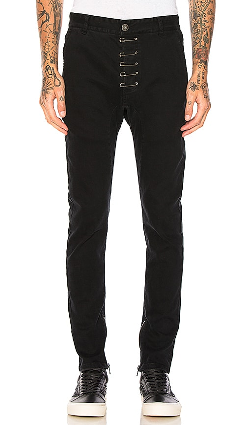 C2H4 Pinned Drop-Crotch Zipper Pants in Black