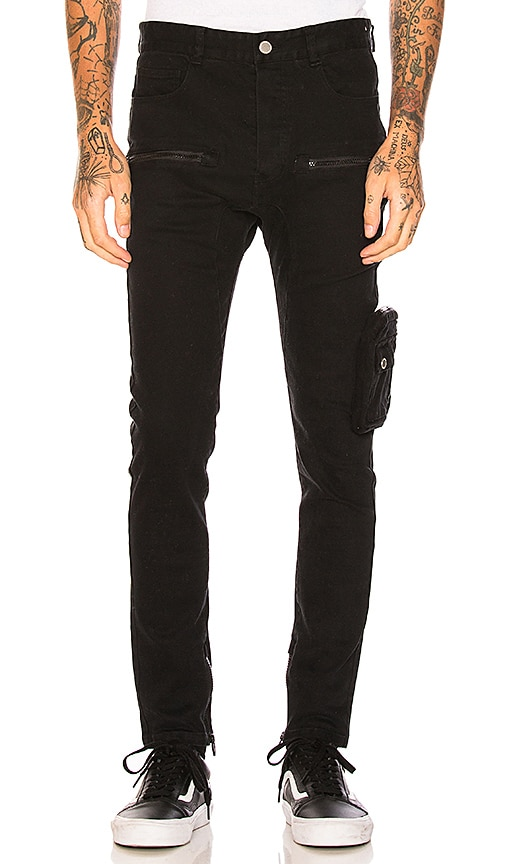 C2H4 Leg Pocket Drop Crotch Pant in Black