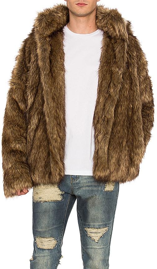 C2H4 Faux Fur Jacket in Brown