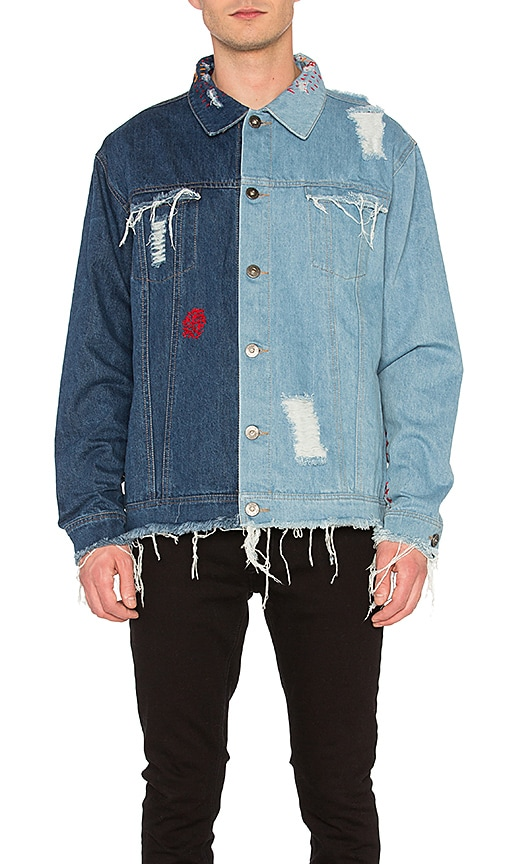 C2H4 Contrast Distressed Denim Jacket in Indigo