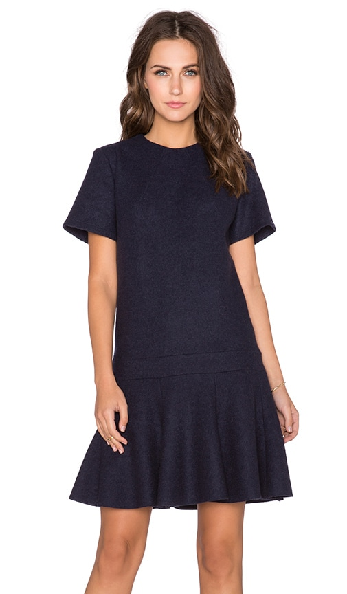 cacharel Ruffle Dress in Bleu Nuit