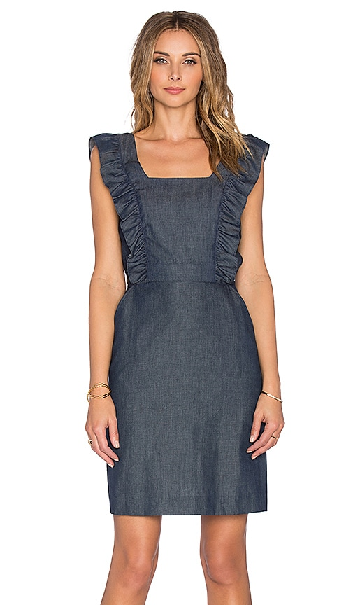 cacharel Ruffle Apron Denim Dress in Indigo