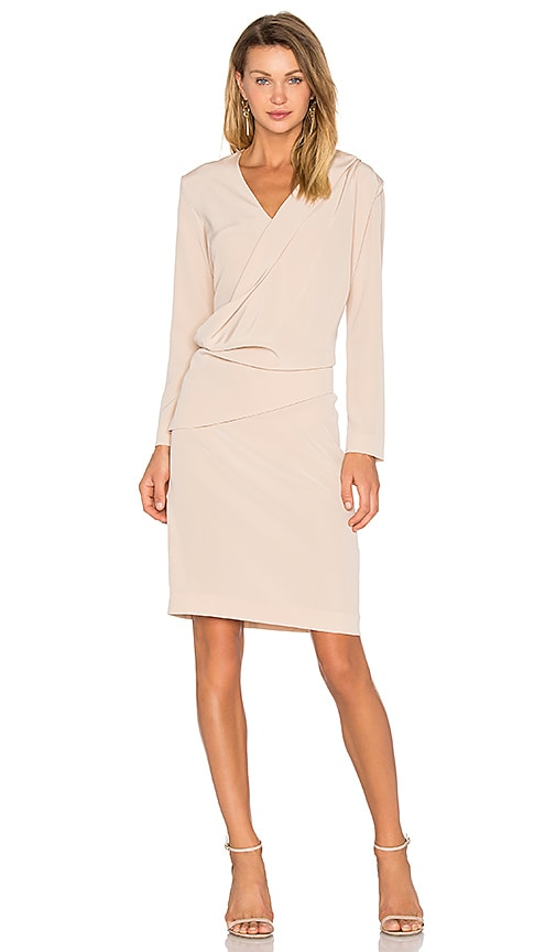 cacharel Silk Pleat Dress in Beige