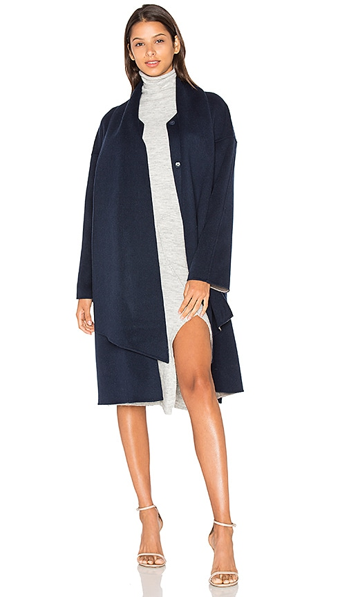 cacharel Merino Belted Coat in Navy