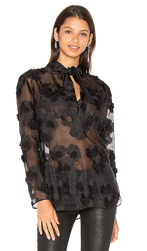cacharel Tie Neck Blouse in Black