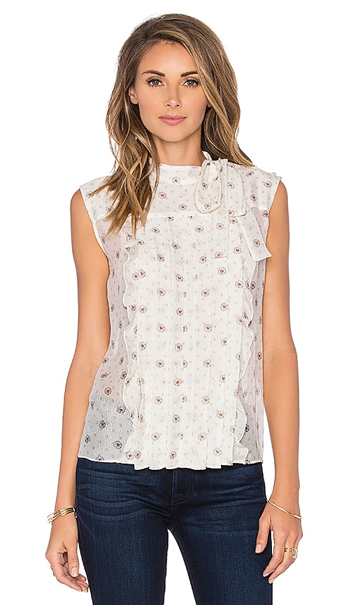 cacharel Tie Neck Tank in Denim Floral