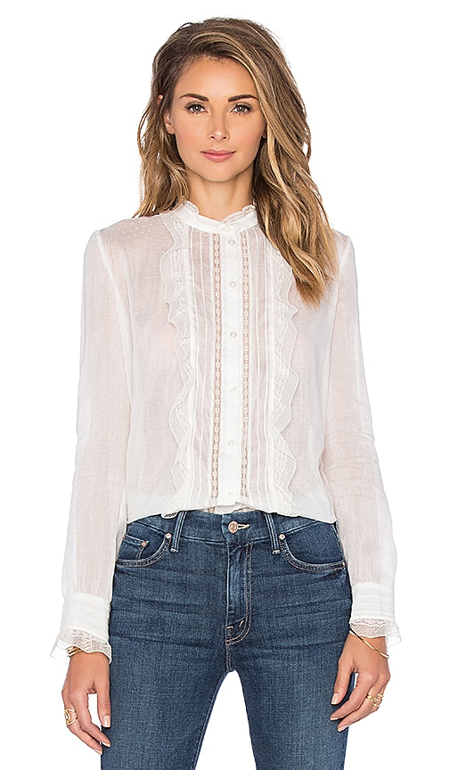 cacharel Ruffle Front Blouse in White