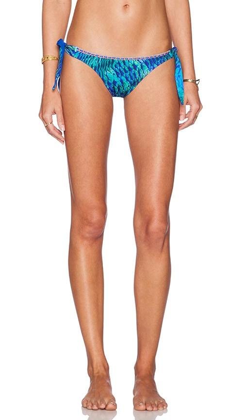 Caffe SIde Tie Bikini Bottom in Blue Snake