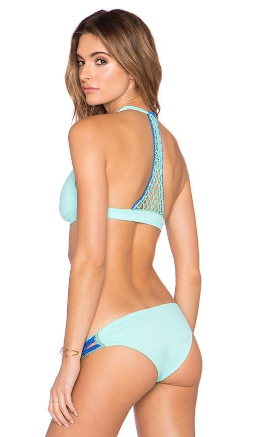 Caffe Y Back Halter Bikini Top in Mint Green
