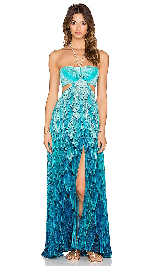 Caffe Feather Cut Out Maxi Dress in Feather Print