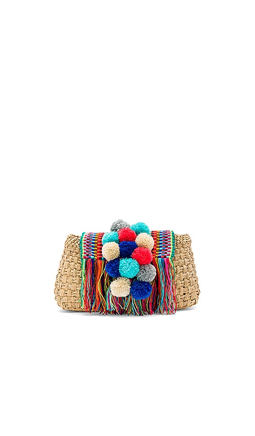 Caffe Pom Pom Clutch in Beige