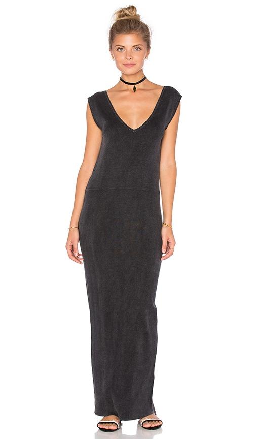 Callahan Deep V Maxi Dress in Charcoal