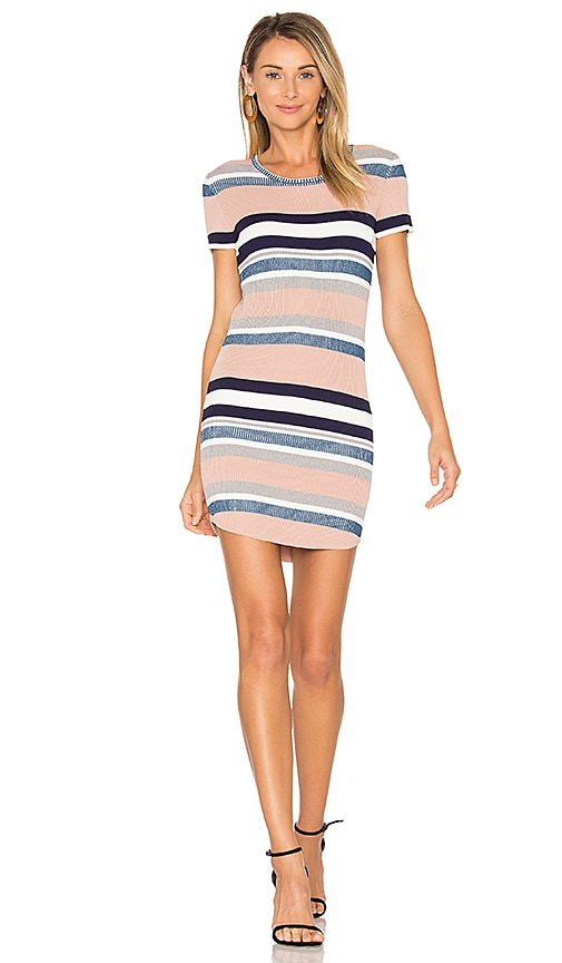 Callahan Stripe Cap Sleeve Dress in Pink