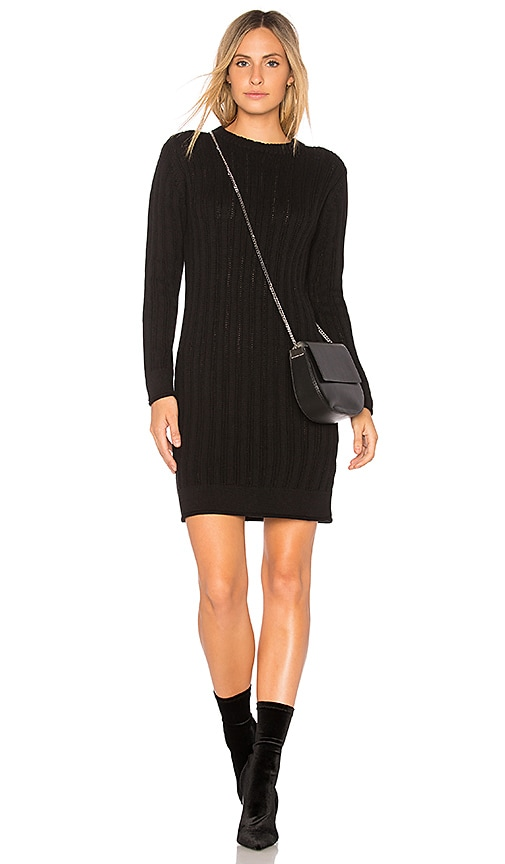 Callahan Stripe Crewneck Sweater Dress in Black