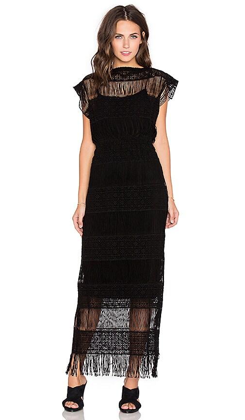 Callahan Crochet Maxi Dress in Black