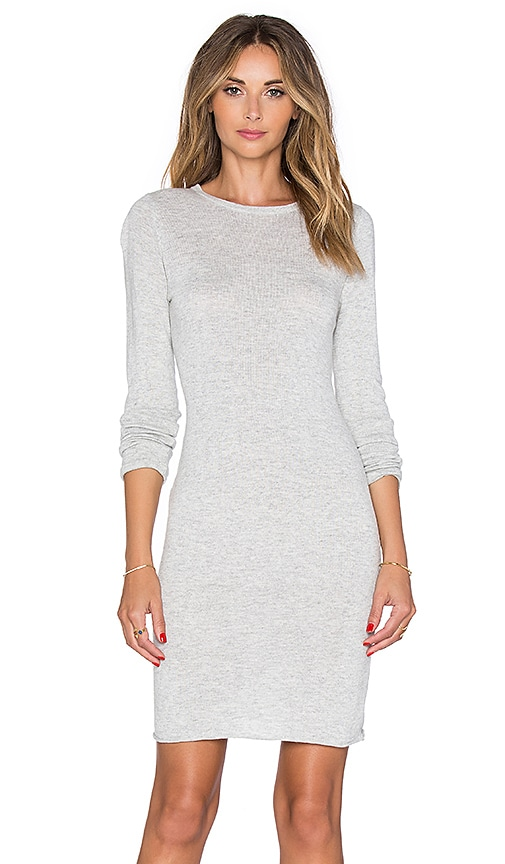 Callahan Crewneck Long Sleeve Dress in Heather Grey