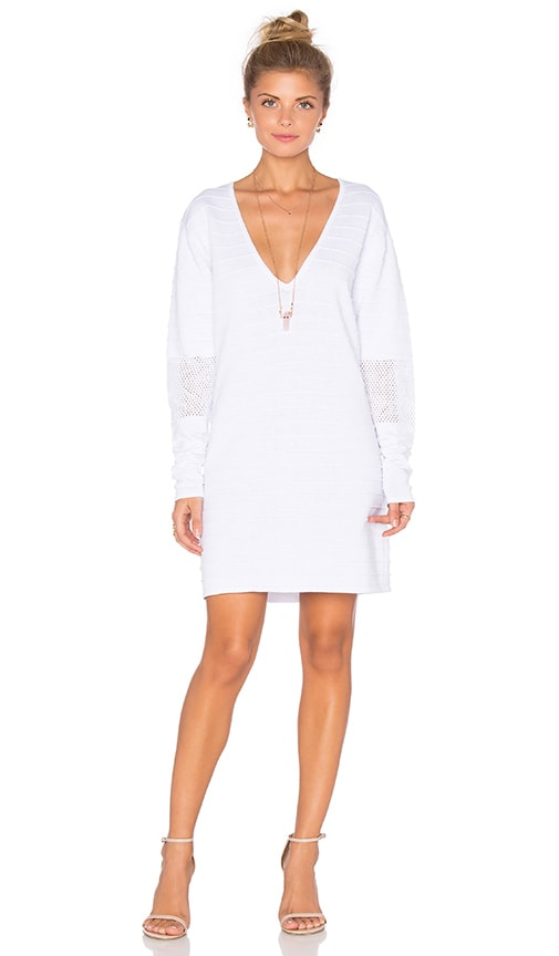 Callahan Perforated Deep V Mini Dress in White