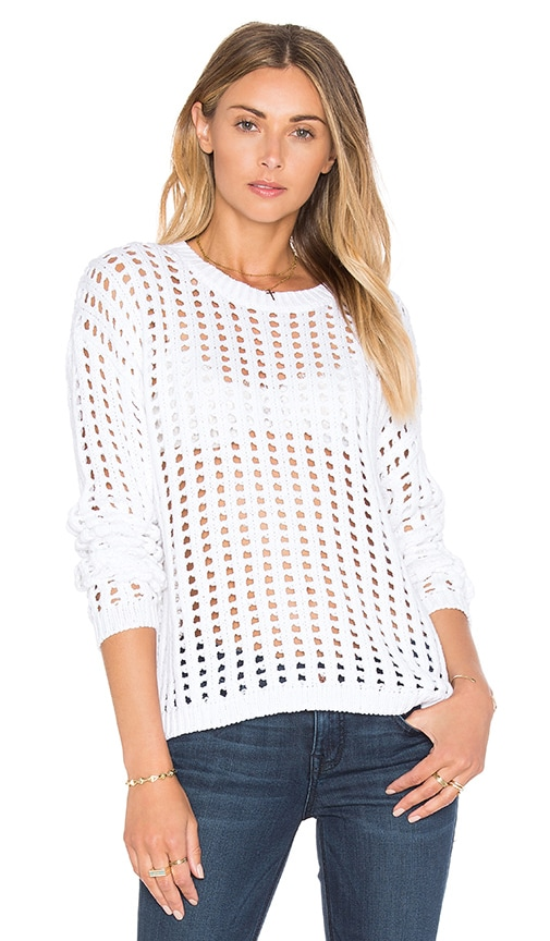 Callahan Holey Crew Neck Sweater in White