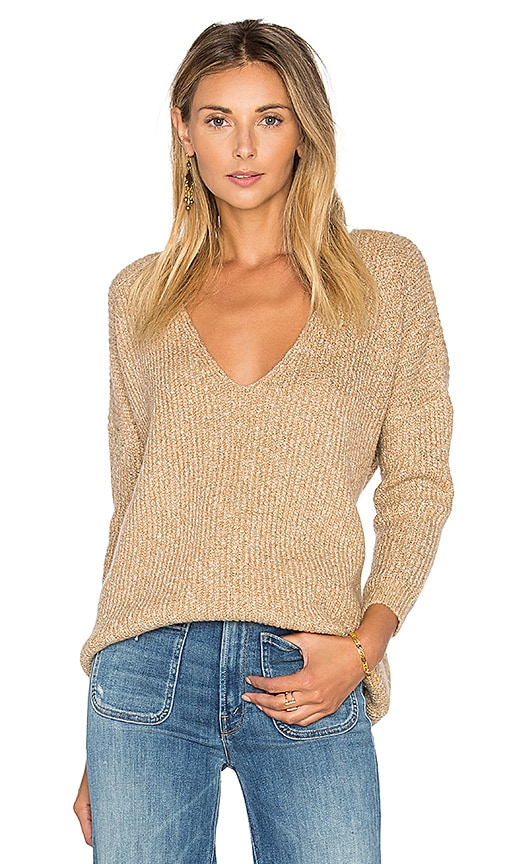 Callahan Heathered V Neck Sweater in Beige