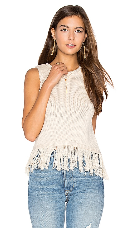 Callahan Fringe Crop Sweater Tank in Cream