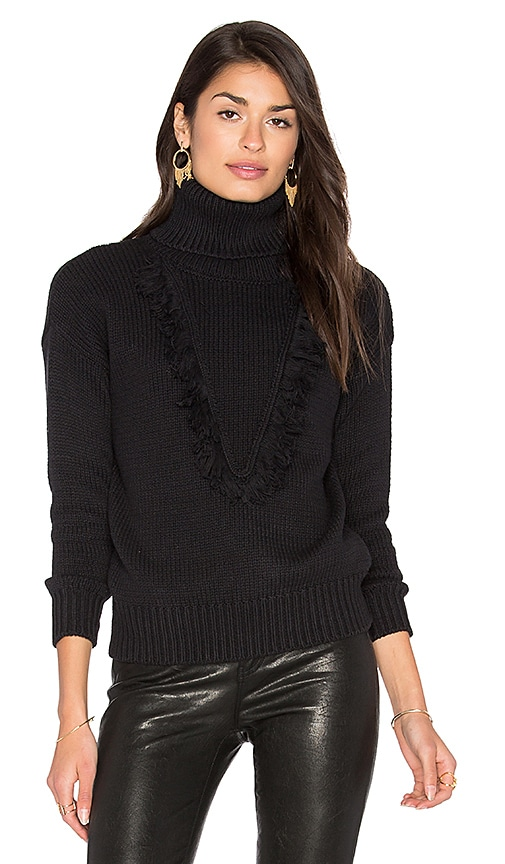 Callahan Fringe Turtleneck Sweater in Black