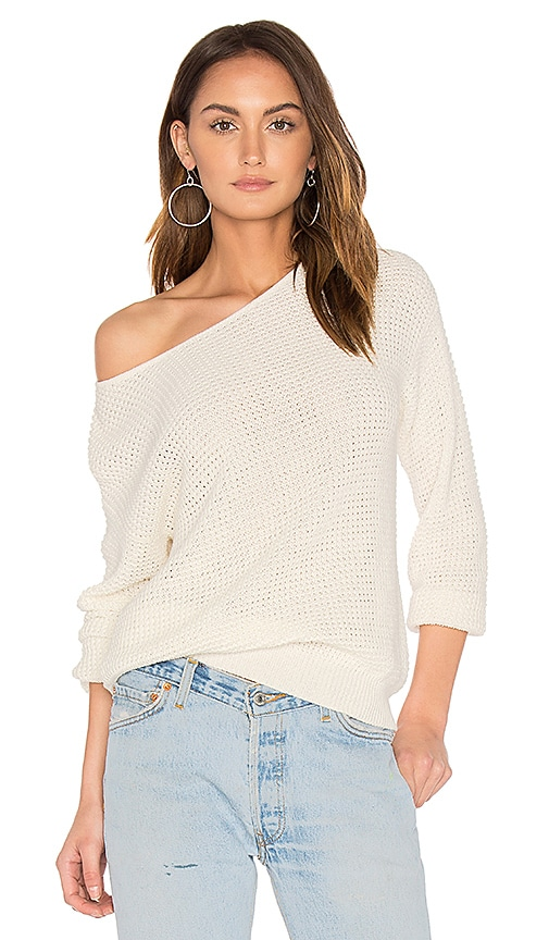 Callahan Waffle V Back Sweater in White
