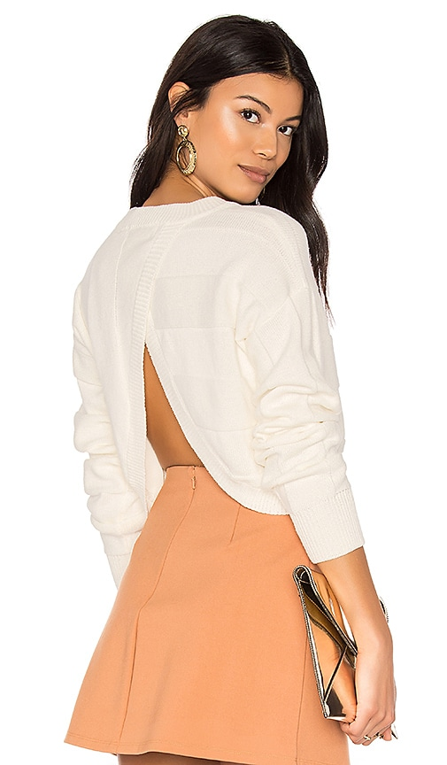 Callahan Vertical Open Back Sweater in White