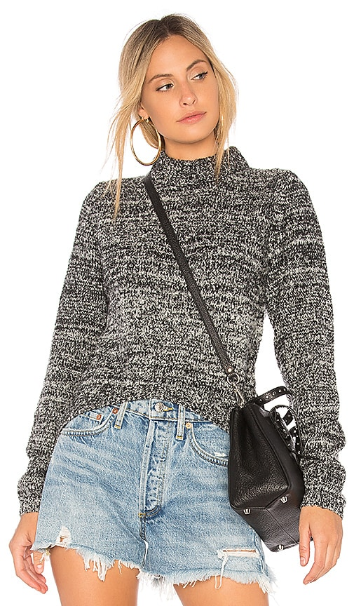 Callahan Melange Hi Low Sweater in Black
