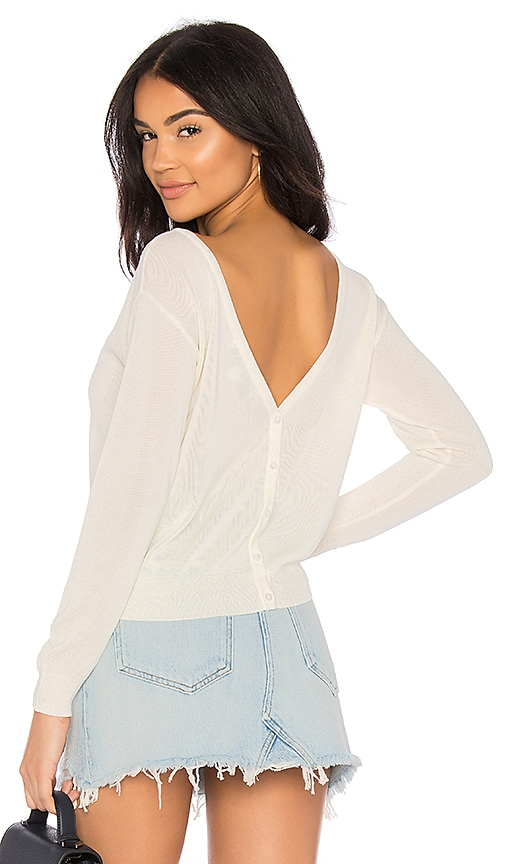 Callahan Button Up V Back Sweater in Cream