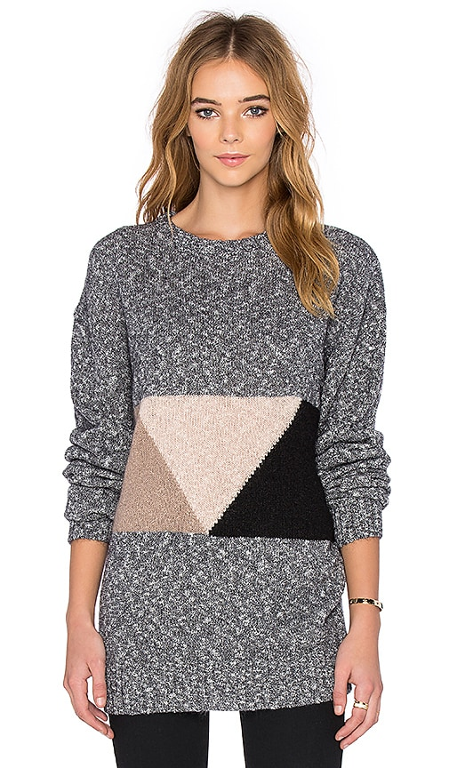 Callahan Oversized Abstract Crewneck Sweater in Heather Grey
