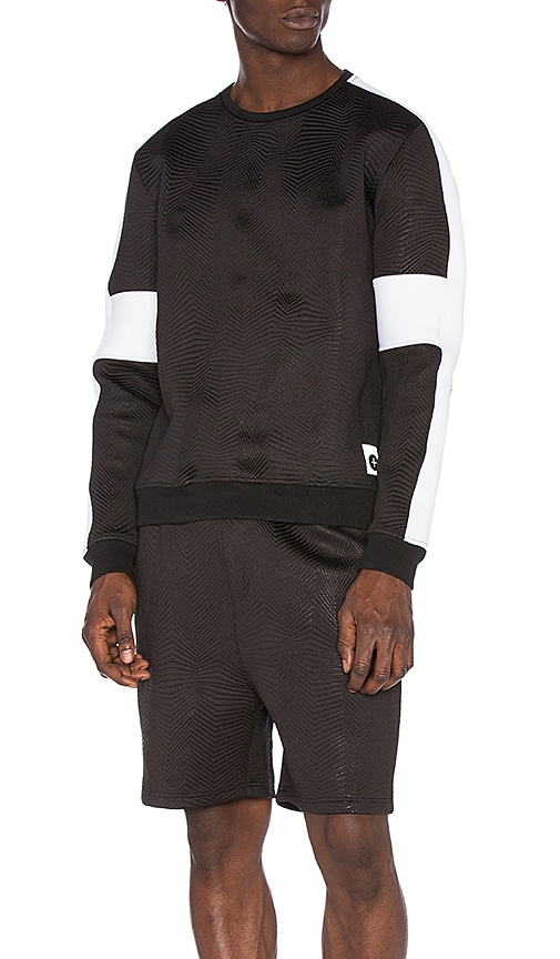 Cahill+ Quilted Neoprene Pullover in Black & White