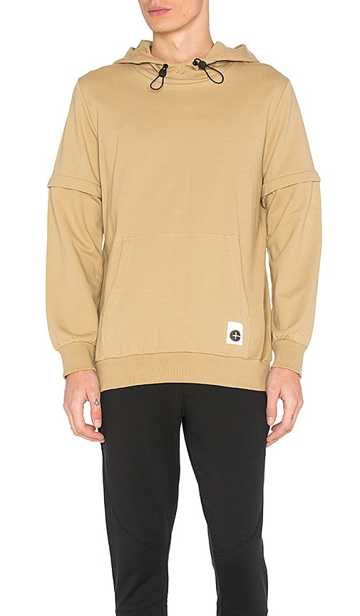 Cahill+ Empire Zip Off Sleeve Hoodie in Tan