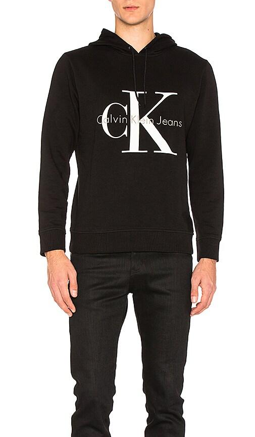 Calvin Klein Long Sleeve Logo Hoodie in Black & White