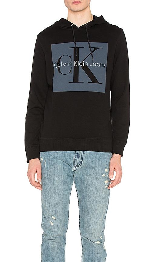 Calvin Klein Re-Issue Box Logo Hoodie in Black