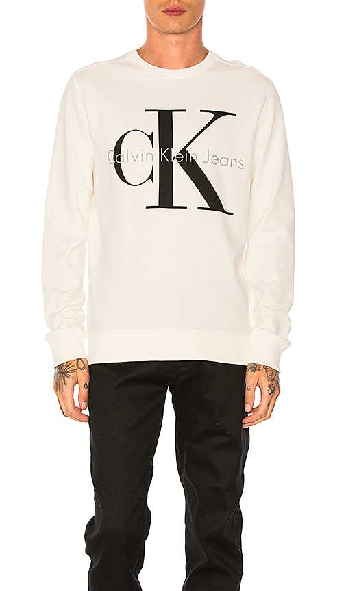 Calvin Klein Reissue Logo Sweatshirt in White