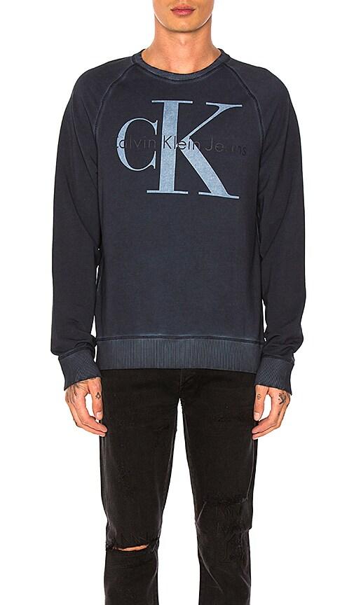 Calvin Klein Cool Wash Reissue Sweatshirt in Navy