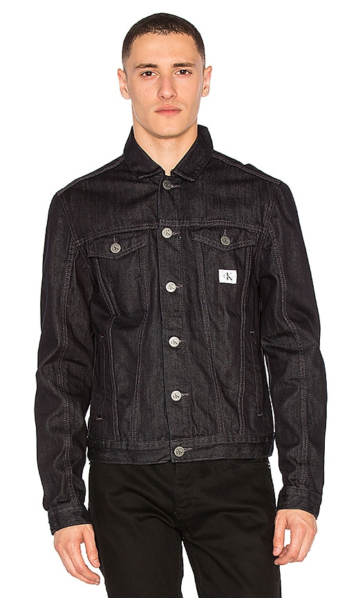Calvin Klein Washed Denim Jacket in Rinse Wash