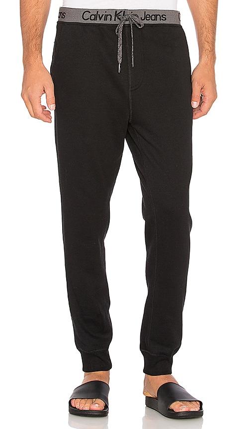 Calvin Klein Logo Waistband Sweatpant in Black